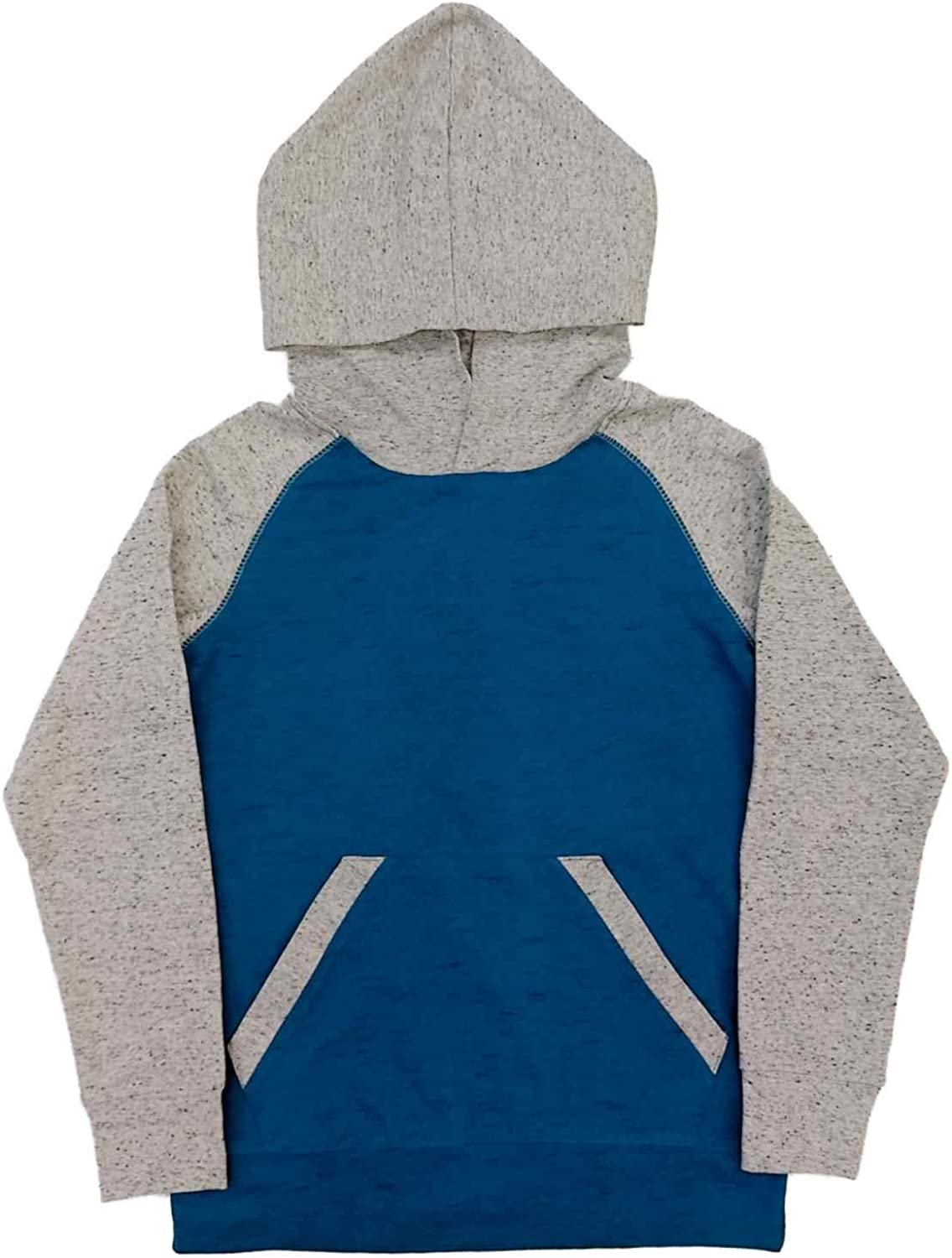 Boys Blue /& Gray Speckle 2-Tone Color-Block Hooded T-Shirt Hoodie Shirt
