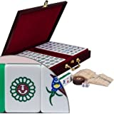 """Chinese Mahjong Game Set with Case, Tiles, and Accessories – The Standard """"Emerald"""" Set"""