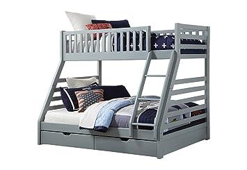 Sweet Dreams States Wooden Triple Sleeper Bunk Bed Frame Grey Wood