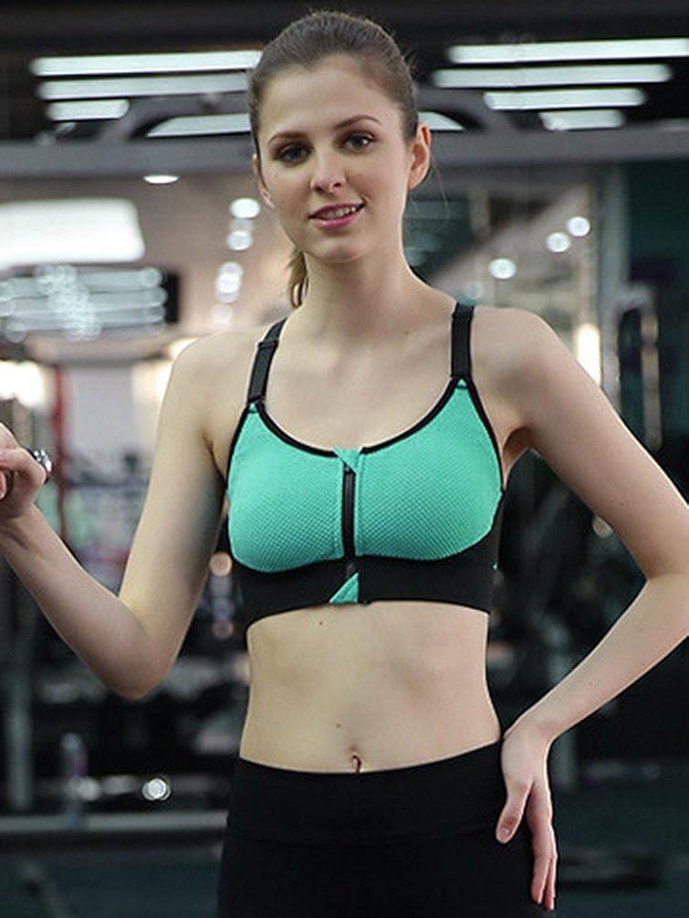 YiJeee Soutien-Gorge de Sport sans Armature Femme pour Yoga Courir Fitness  Running Avant Zipper Push Up Bra  Amazon.fr  Vêtements et accessoires df182af39ab