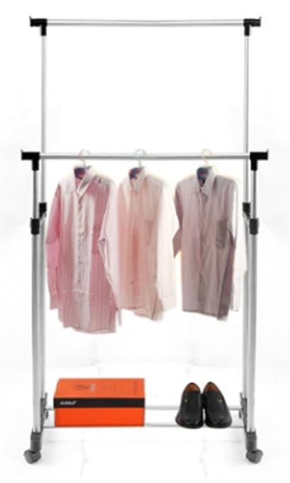 Amazon.com: Ruedas de Acero Plegable Doble Rod Clothes ...