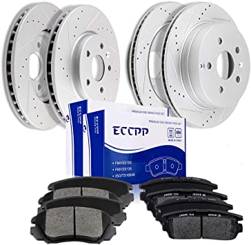 2010 2011 for GMC Terrain Front /& Rear Brake Rotors and Pads w//321mm Rotors