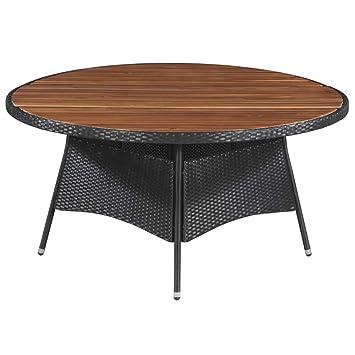 Tidyard Table a Manger | Table Ronde | Table Console | Table Exterieur |  Table de Jardin en Résine Tressée et Bois d\'Acacia 150 x 74 cm Marron et  Noir
