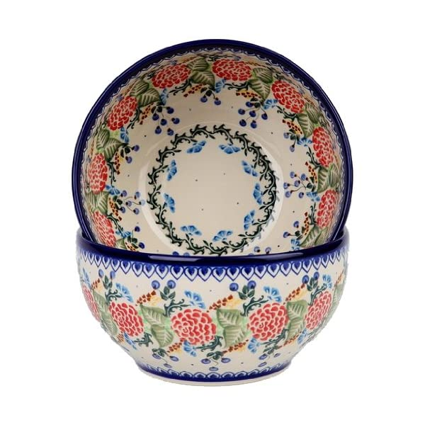 Polish Pottery Ceramika Boleslawiec 0410/280 Royal Blue Patterns with Red Rose Motif Bowl 19, 5-1/4-Cup