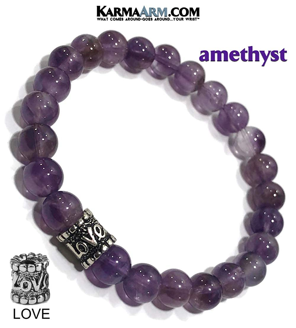 KarmaArm Love Bracelet Natural Purple Amethyst Addiction Zen Meditation Mala Wristband Good Energy Yoga Reiki Healing Energy Boho Beaded Chakra Self-Care Wellness Jewelry /& Gifts