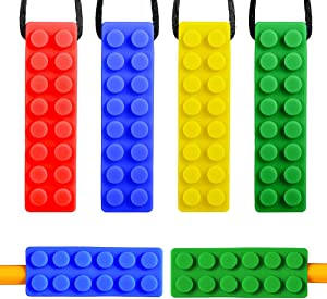 Sensory Chew Necklace for Boys and Girls - 2 Different Hardness Chewy Necklace and Chewable Pencil Toppers for Kids with Autism, ADHD, SPD, Oral Motor Teething & Biting Needs (6 Pack)