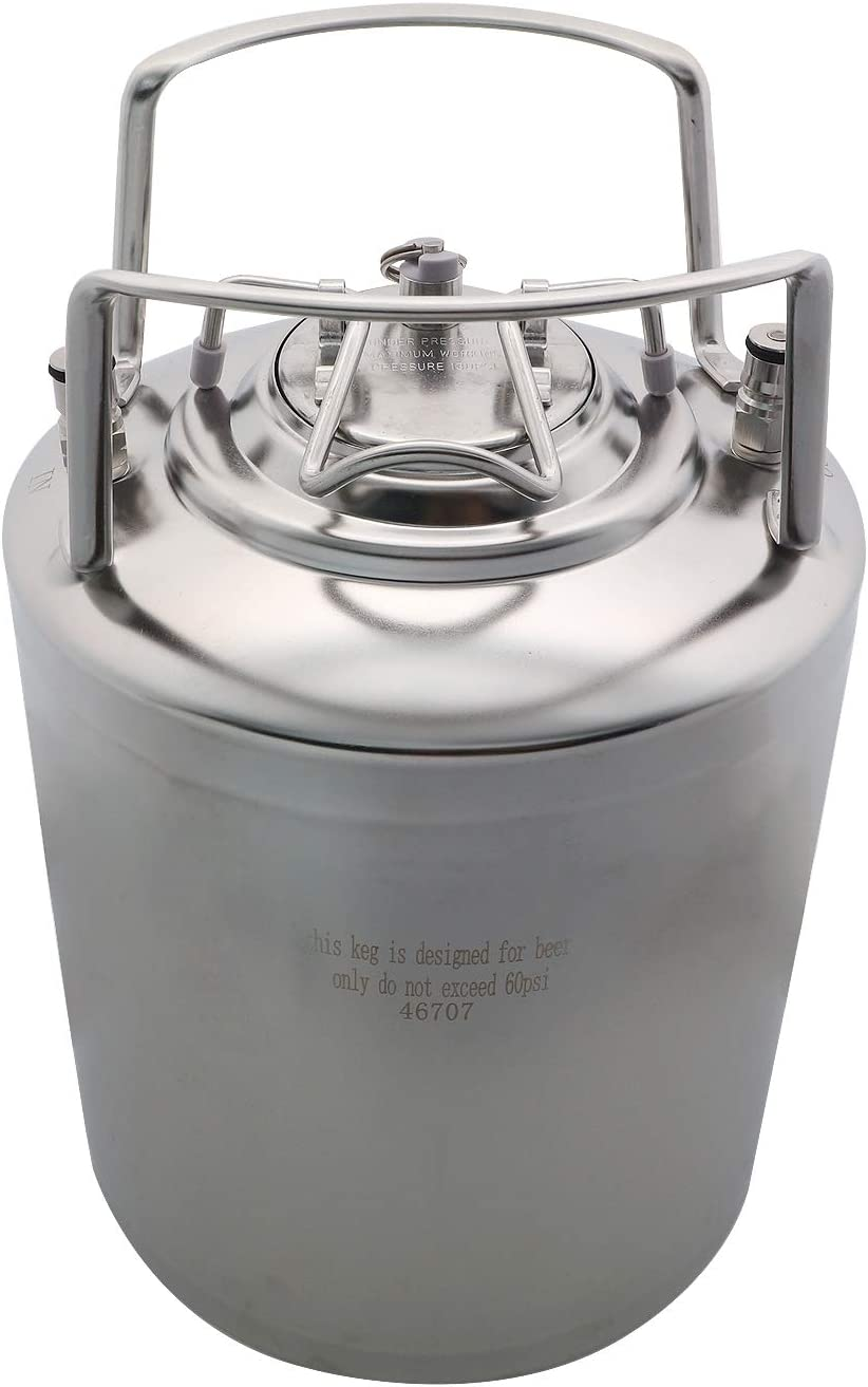 CRBrewBeer 304 Stainless Steel 2.65 Gallon Mini Ball Lock Keg,Beer barrel with ball lock post System For HomeBrewing Beer Brewing,Strap Handle(10L(2.65 Gallon))