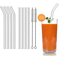 Aoktech 8 Pieces Reusable Glass Drinking Straws for Milkshakes, Frozen Drinks, Smoothies, Bubble Tea, Juice, 10mm…