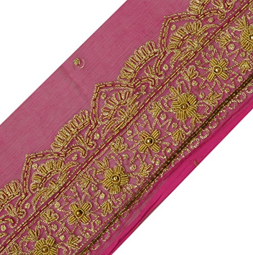 Vintage Sari Border Indian Craft Trim Hand Beaded Embroidered Ribbon Lace (Hand Beaded Pink Ribbon)