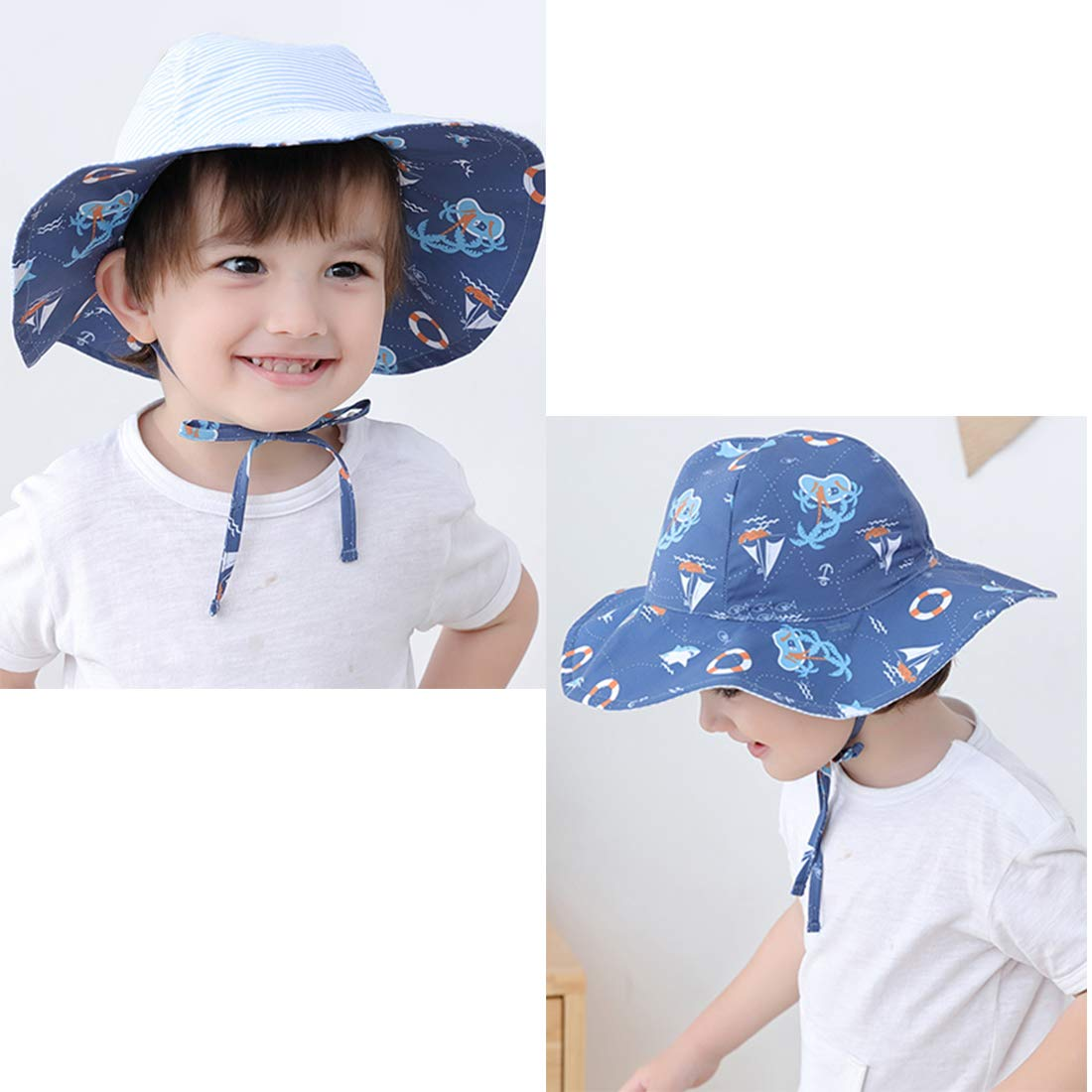 Baterflyo Baby Toddler Boy Beach Sun Hat Large Brim UPF 50 Stay-on Sun Protection Summer Sunhat with Strap