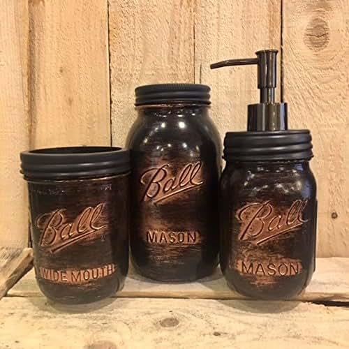 5 piece mason jar desk organizer or bathroom set black copper bathroom set rustic. Black Bedroom Furniture Sets. Home Design Ideas