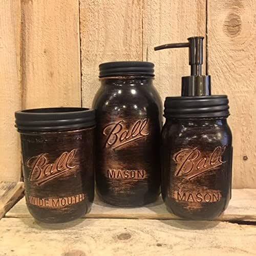 Amazon Com 5 Piece Mason Jar Desk Organizer Or Bathroom