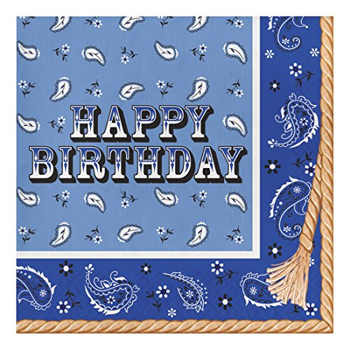 Creative Converting 317386 16 Count Paper Lunch Napkins, Happy Birthday, Blue Bandana Cowboy