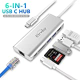 Etrvduy USB C Hub, Multiport USB C Adapter with 4K USB C to HDMI Converter, 2 USB 3.0, Card Reader, Type C Charging…