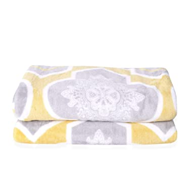 Shop LC Delivering Joy Gray and Yellow Moroccan Pattern Flannel Throw Blanket with Knitted Border 59x78.7 100% Microfiber