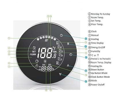 Beca - Termostato de calefacción de caldera de agua o gas de 3 A, de 95 a 240 V de CA, memoria de datos, pantalla táctil digital, con programación semanal ...