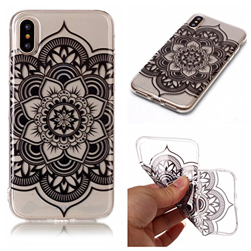 Coque Etui iPhone X , Leiai Mandala Noir Silicone Gel Case Avant et Arrière Intégral Full Protection Cover Transparent TPU Housse Anti-rayures pour Apple iPhone X
