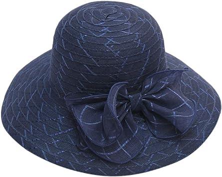 Sombreros de Vestir para Mujer, MINXINWY Sombrero de Paja con Arco ...