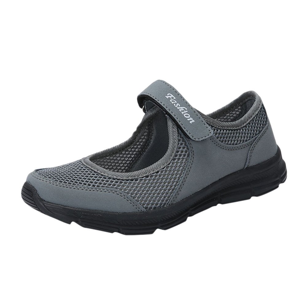 Sunyastor Women Lightweight Walking Shoes Plus Size Summer Breathable Flat SneakersAnti Slip Fitness Running Sports Shoes Dark Gray