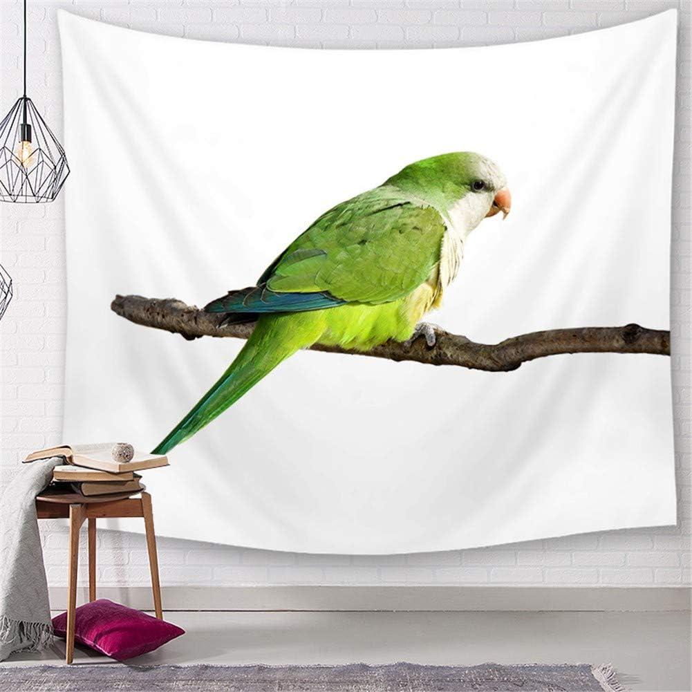Arazzo da parete decorativo per bagno o cameretta animale pappagallo verde Arazzi Panorama Tappeto da Parete e Copriletto,Wall Hanging Tapestry home Living Room Decor Poliestere Murale D8380 130x150cm