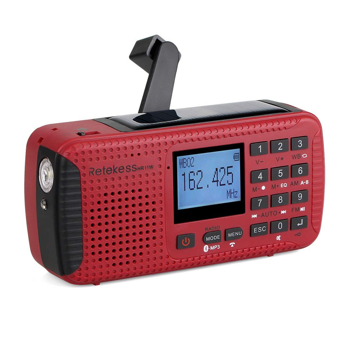 Retekess HR11W NOAA Weather Alert Radio Alarm with Emergency Radio AM FM Solar Hand Crank Camping Red SOS Light Flashlight Wireless TF Card Speaker Digital Recorder Phone Charger(Red)
