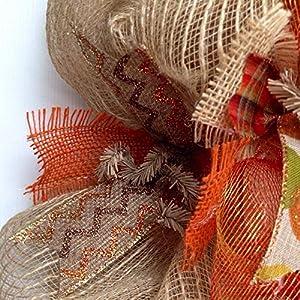 New! Full! Premium Handmade Harvest Deco Mesh Ribbon Wreath, Large 24 Inches 2
