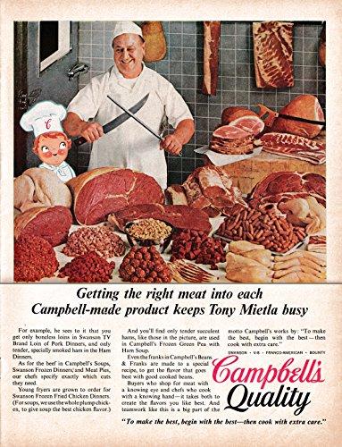 Campbell Art Deco Print - 1967 Campbell's Soup Quality-Chef-Tony Mietla-Original 13.5 * 10.5 Magazine Ad