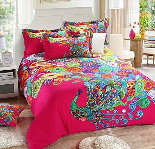 Boho Style Bedding Sets 100% Cotton Printed Peacock Duvet Quilt Cover Set Full 4Pcs