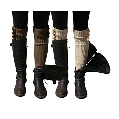 Blue 55 Women's Leg Warmers Cute Versatile Long Fashionable Knit w/ Pom Poms 2 Pack: Taupe & Vanilla One Size: Clothing