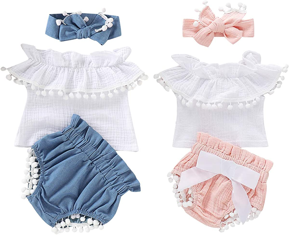 Tianhaik Baby Girl Outfits Pink Cotton Ruffled Shirt Bowknot Pants Casual Homewear Clothes for 0-18 Months