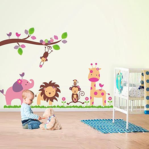 Walplus Wall Stickers Huge Elephant Monkey Trees Removable Self Adhesive Mural Art Decals Vinyl Home