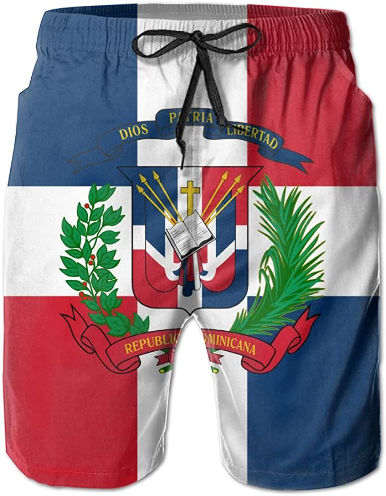CMEY Mens Board Shorts Dominican Republic Flag Swim Trunks Summer Beach Shorts