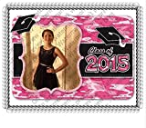 1/2 Sheet Pink Camo Graduate Add Your Picture Photo Frame Edible Image Cake Topper