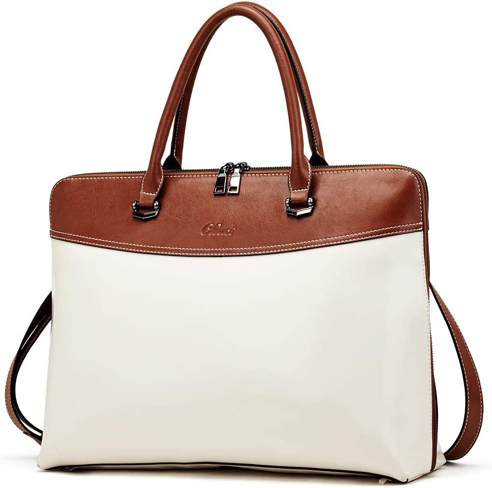 CLUCI Briefcase for Women Oil Wax Leather 15.6 Inch Laptop Business Vintage Slim Ladies Shoulder Bag Beige with Brown