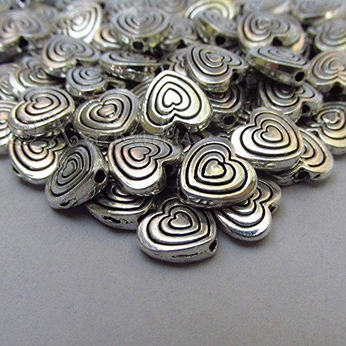 50 Pcs Heart Shaped 9mm Antiuqed Silver Plated Spacer Beads B2149 ()