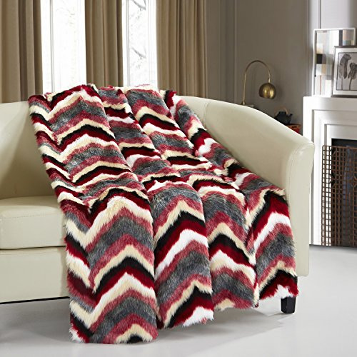 (Chic Home Orna Throw Blanket New Faux Fur Collection Cozy Super Soft Ultra Plush Micromink Backing Decorative Striped Chevron Design50