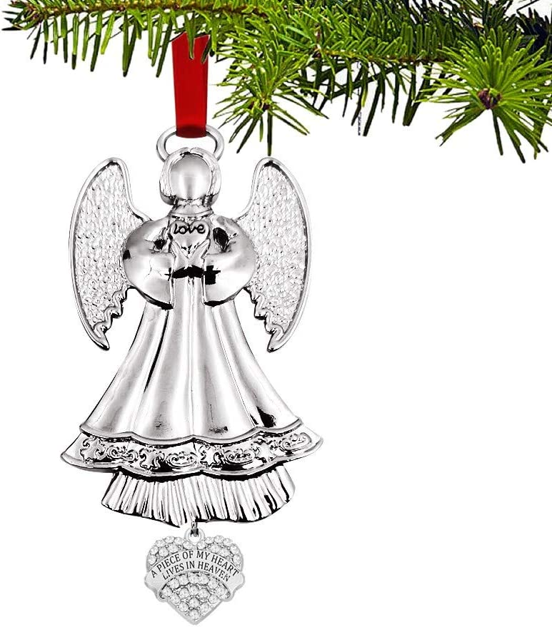 JUPPE Silver Angel Christmas Ornaments for Christmas Tree - A Piece of My Heart Lives in Heaven - Memorial Ornament for Loss of Loved One - Luxurious Silk Ribbon (Silver Angel-4)