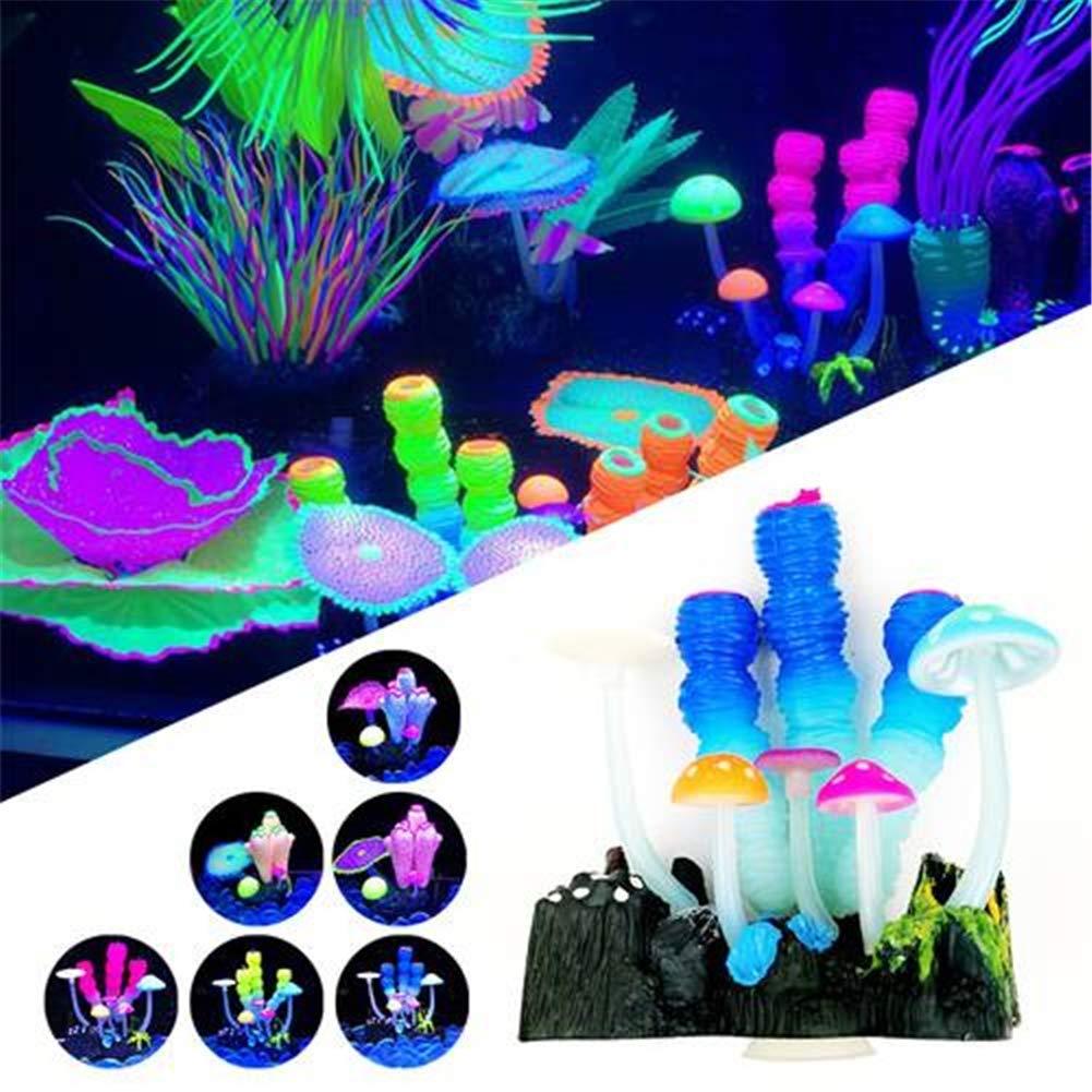 6pieceset Glow in The Dark Luminous Aquarium Decor Ornament Silicone Plant Fish Tank Decor,6pieceset