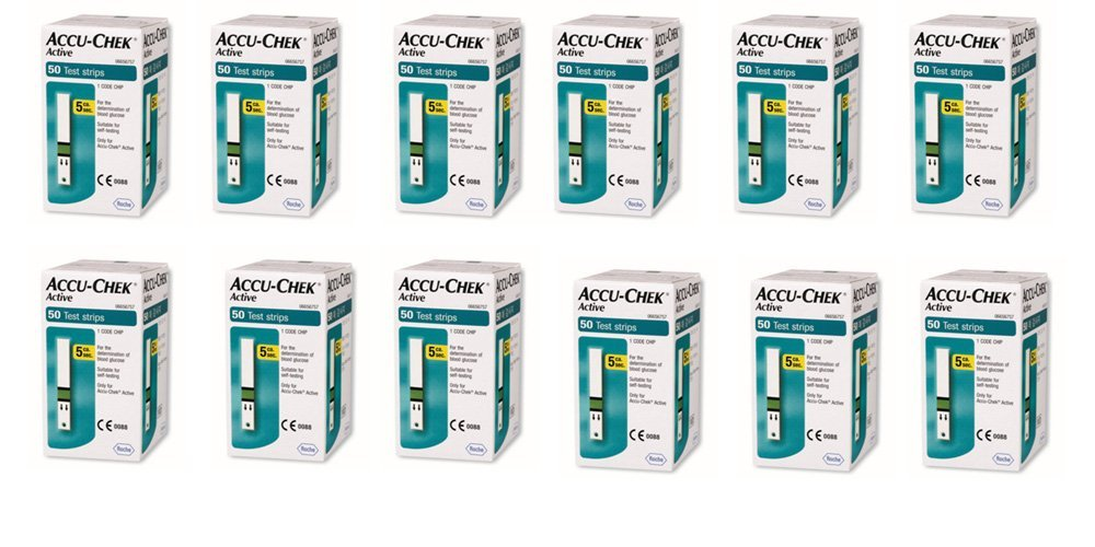 Pack of 12 - ACCU CHEK ACTIVE GLUCOMETER 50 TEST STRIPS
