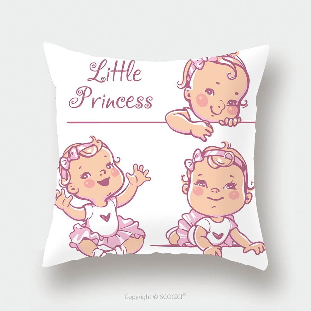 Custom Satin Pillowcase Protector Set With Cute Little Baby Girl With Curly Hair Wearing Bow Pink Tutu Portrait Of Happy Smiling 421059058 Pillow Case Covers Decorative by chaoran
