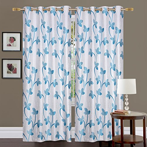 Fresh From Loom Eyelet Polyester 5 ft Window Curtain Screen Pardas; Blue, 1pc only