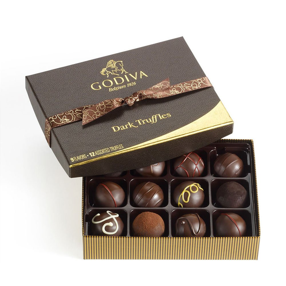 Godiva Chocolatier Dark Chocolate Truffles Gift Box, Premium Chocolate, 12 pc