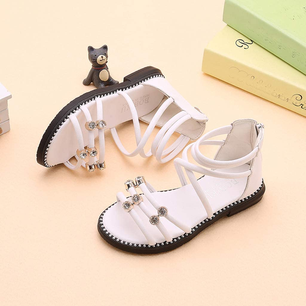 Girls Flat Sandals Pearl Flower Roma Cross Tie Princess Sandals Casual Flat Roman Shoes for Girls 26-36