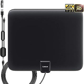 Antena de TV de interior con alcance máximo de 130 millas, integrada de amplificador de señal, 4K 1080P Ultra HD señal más potente, VHF/UHF-FM y cable coaxial de 13.2 FT: Amazon.es: Electrónica