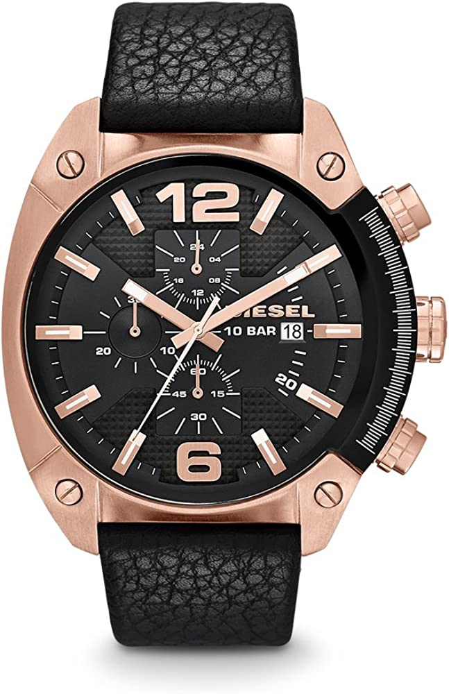 Diesel Men s DZ4297 Overflow Rose Gold Black Leather Watch