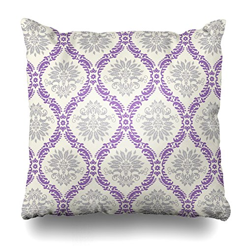 """Soopat Decorative Pillow Cover 18""""X18"""" Two Sides Printed Regal Purple Gray and Cream Damask Design Throw Pillow Cases Decorative Home Decor Indoor Nice Gift Kitchen Garden Sofa Bed Car from Soopat"""