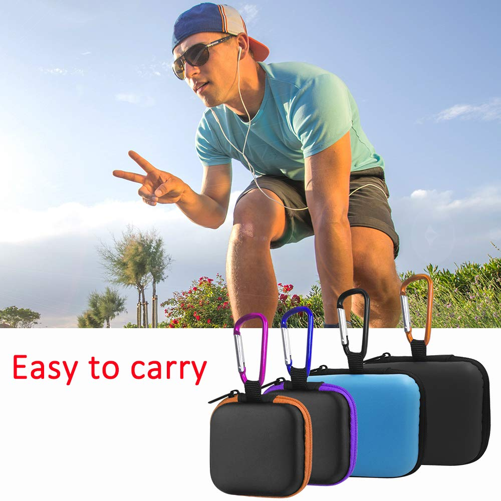 Naranja Azul Bolsa de Almacenamiento port/átil de EVA con mosquetones para Mini Auriculares con Cable USB Color Negro FineGood Morado 4 Fundas para Auriculares y 1 Clip de Cable