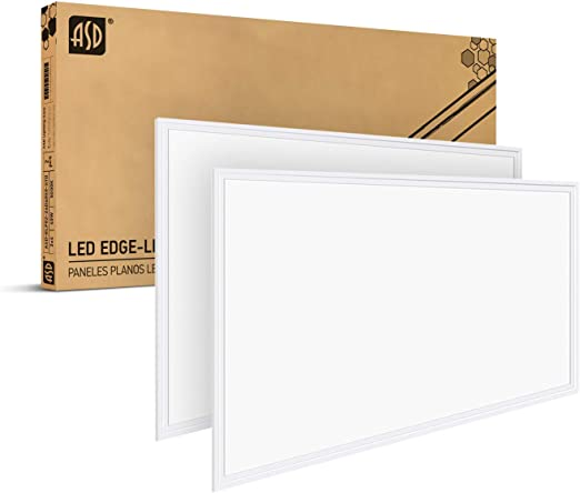 ASD 2x4 LED Flat Panel Light 5000K (Daylight) 40W=100W Equivalent - 0-10V Dimmable 4677 Lm Edge Lit LED Panel 120-277V Drop Ceiling Light Fixture Indoor Commercial - cULus Listed DLC Certified, 2 Pack