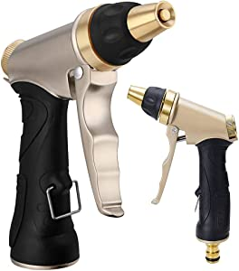 Royal Brands Garden Hose Brass Nozzle | Heavy Duty Metal Spray Gun Sprayer | Car Washing | Plants Watering | Pets Shower | Floor Cleaning