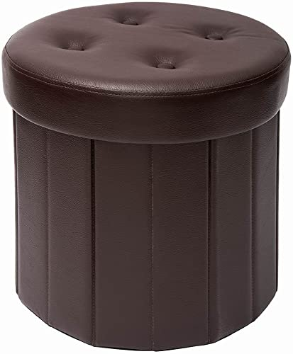 Fresh Home Elements FHE 15 Round Tufted Folding Storage Ottoman